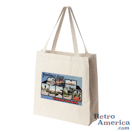 Greetings from San Diego California CA 1 Postcard Tote Bag