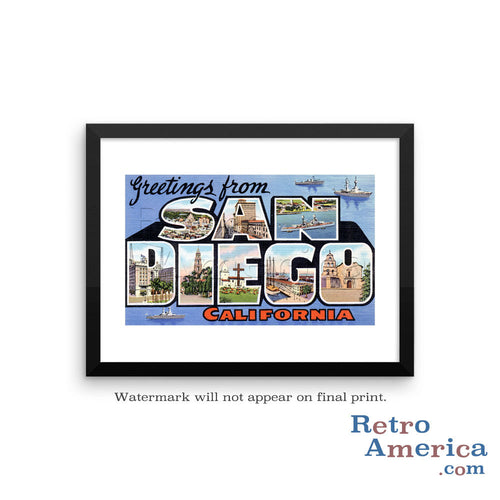 Greetings from San Diego California CA 2 Postcard Framed Wall Art