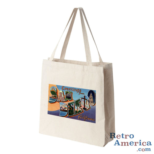 Greetings from San Diego California CA 3 Postcard Tote Bag