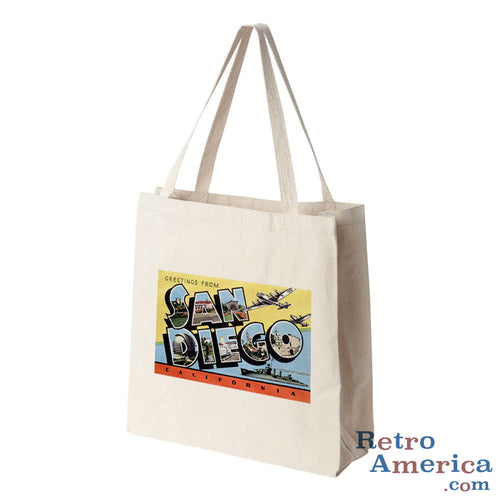 Greetings from San Diego California CA 4 Postcard Tote Bag