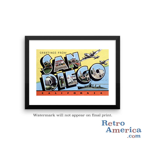 Greetings from San Diego California CA 4 Postcard Framed Wall Art