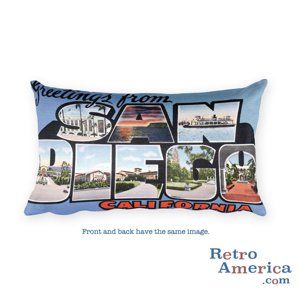 Greetings from San Diego California Throw Pillow 1