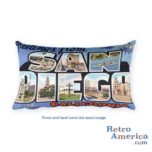 Greetings from San Diego California Throw Pillow 2