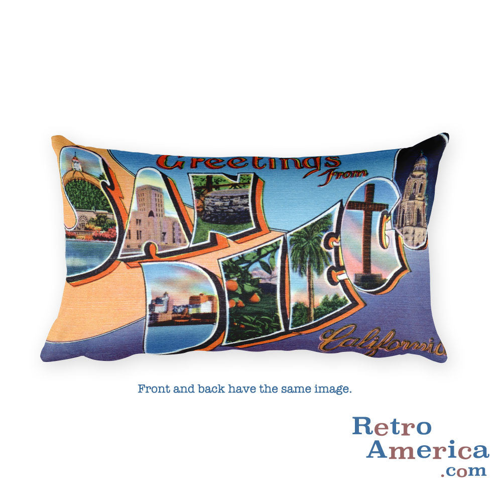 Greetings from San Diego California Throw Pillow 3