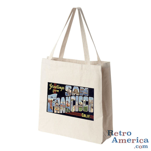 Greetings from San Francisco California CA 1 Postcard Tote Bag