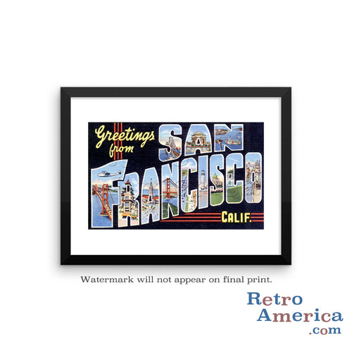 Greetings from San Francisco California CA 1 Postcard Framed Wall Art
