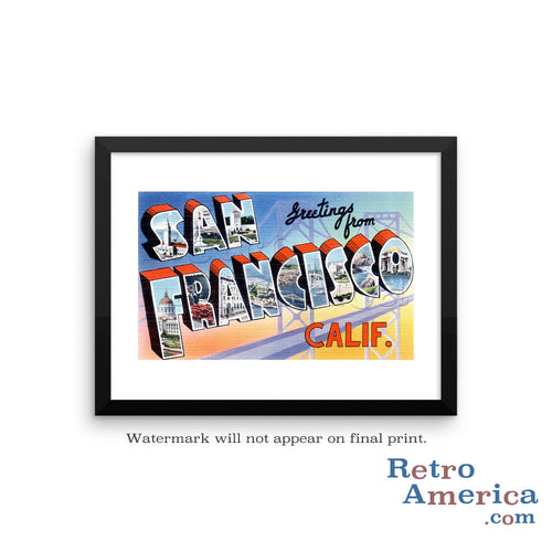 Greetings from San Francisco California CA 2 Postcard Framed Wall Art