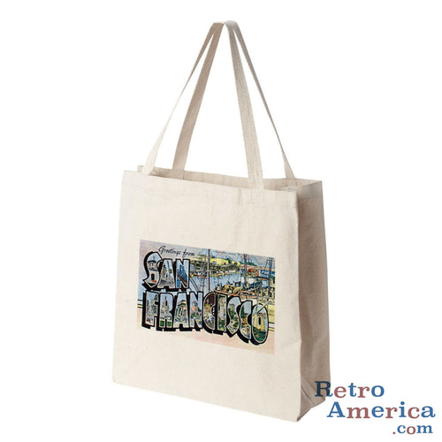 Greetings from San Francisco California CA 3 Postcard Tote Bag