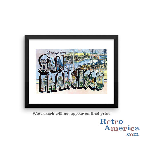 Greetings from San Francisco California CA 3 Postcard Framed Wall Art