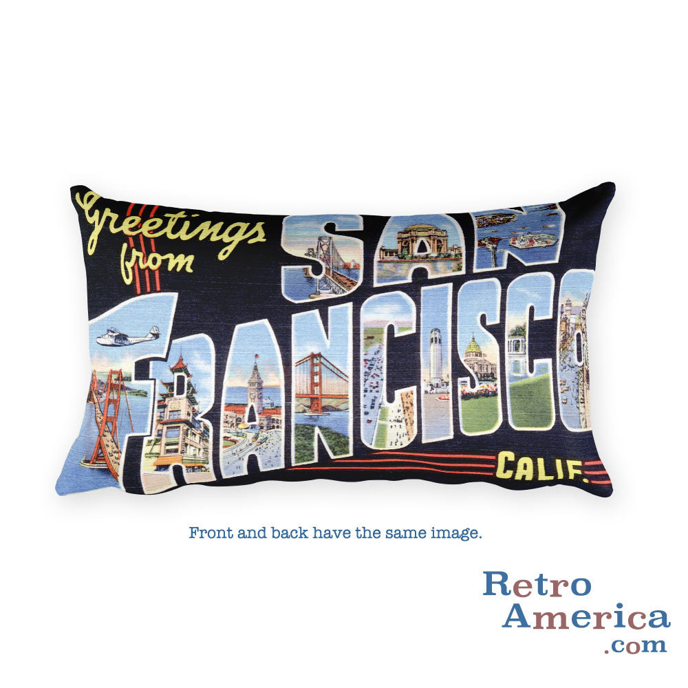 Greetings from San Francisco California Throw Pillow 1