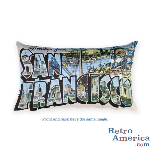 Greetings from San Francisco California Throw Pillow 3