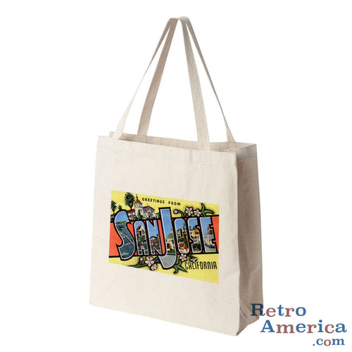Greetings from San Jose California CA Postcard Tote Bag