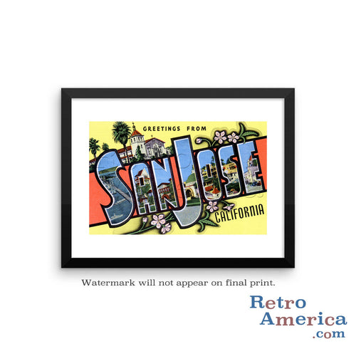Greetings from San Jose California CA Postcard Framed Wall Art