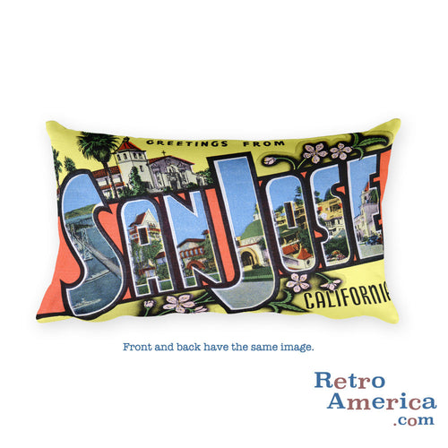 Greetings from San Jose California Throw Pillow
