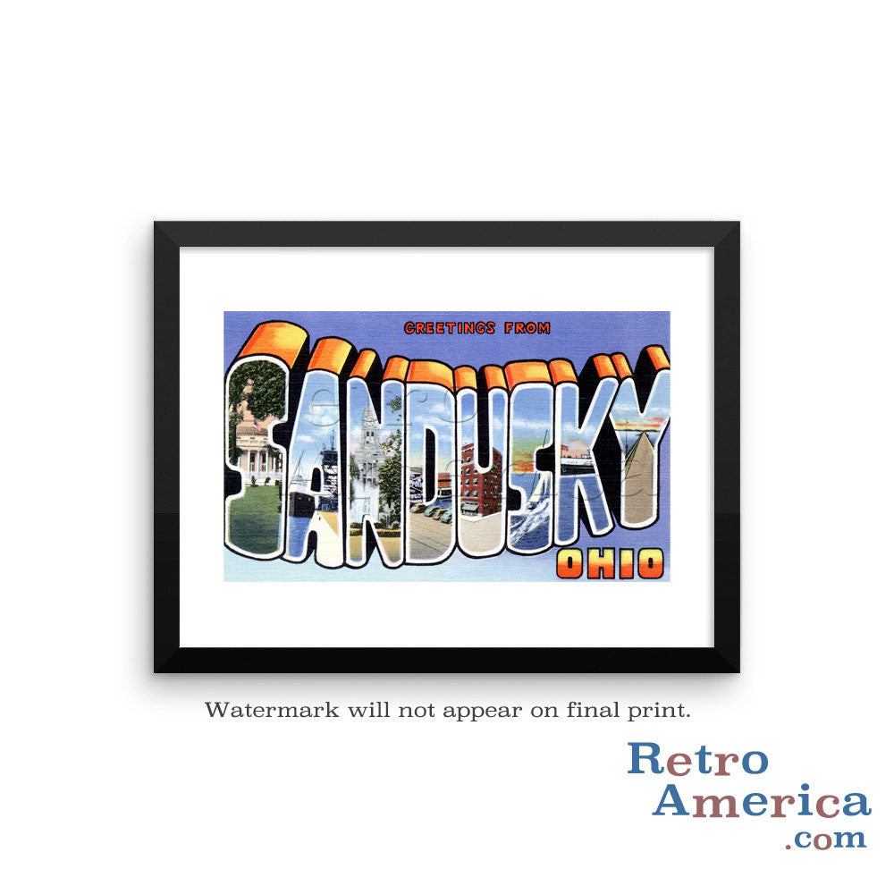 Greetings from Sandusky Ohio OH Postcard Framed Wall Art