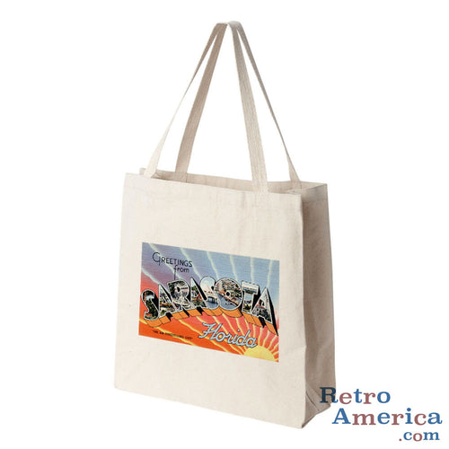 Greetings from Sarasota Florida FL Postcard Tote Bag