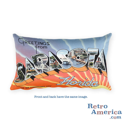 Greetings from Sarasota Florida Throw Pillow
