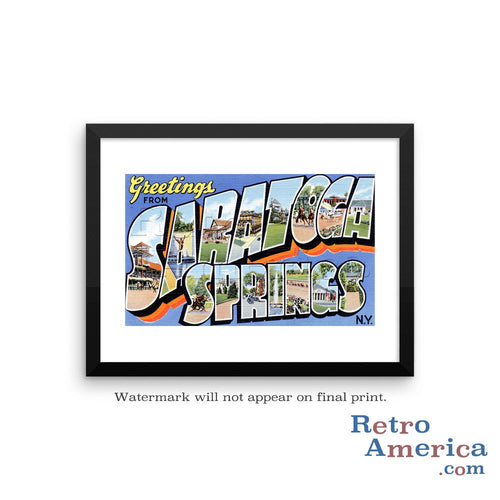 Greetings from Saratoga Springs New York NY Postcard Framed Wall Art