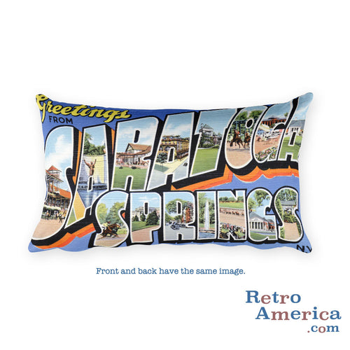 Greetings from Saratoga Springs New York Throw Pillow