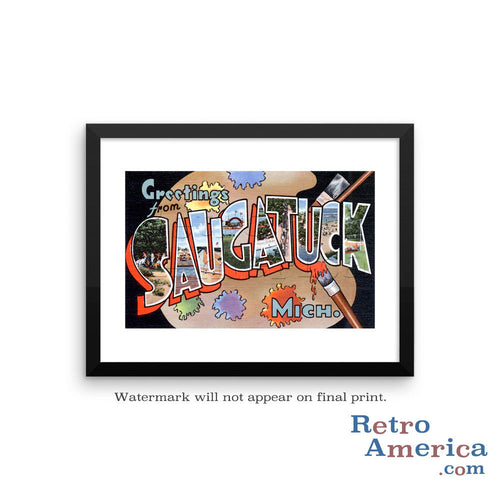 Greetings from Saugatuck Michigan MI Postcard Framed Wall Art