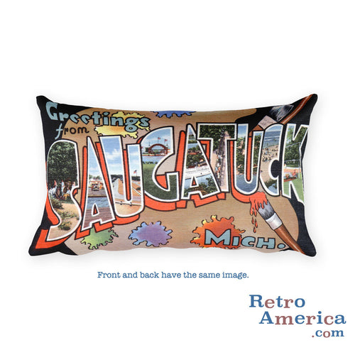 Greetings from Saugatuck Michigan Throw Pillow