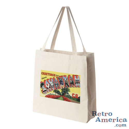Greetings from Savannah Georgia GA Postcard Tote Bag