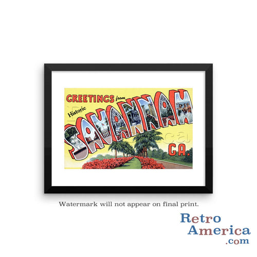 Greetings from Savannah Georgia GA Postcard Framed Wall Art