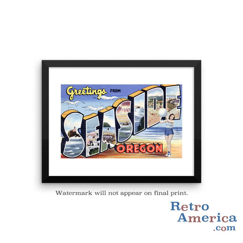 Greetings from Seaside Oregon OR Postcard Framed Wall Art