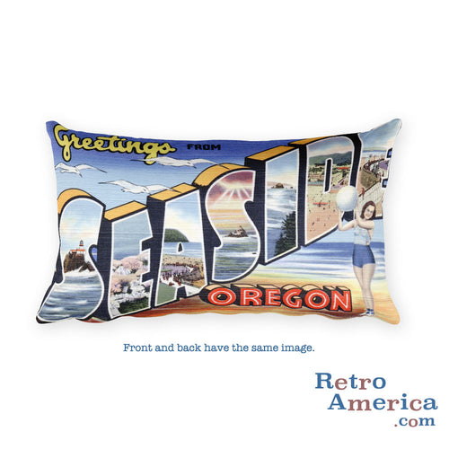 Greetings from Seaside Oregon Throw Pillow