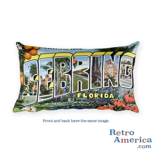 Greetings from Sebring Florida Throw Pillow