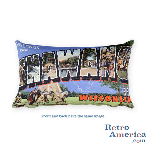 Greetings from Shawano Wisconsin Throw Pillow