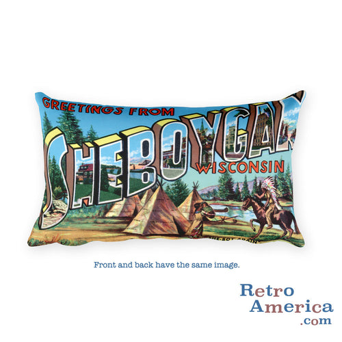 Greetings from Sheboygan Wisconsin Throw Pillow