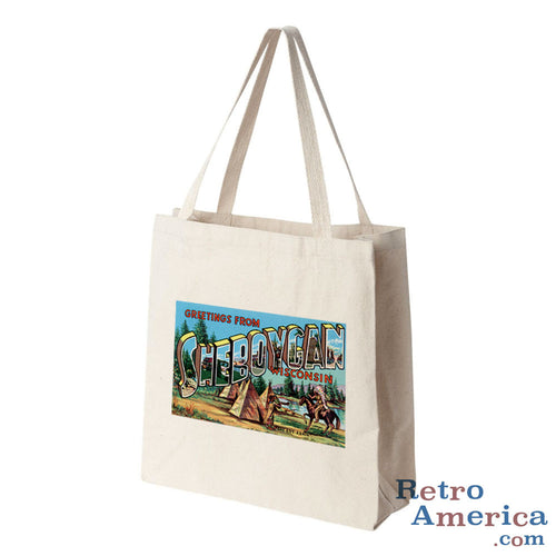 Greetings from Sheboygan Wisconsin WI Postcard Tote Bag