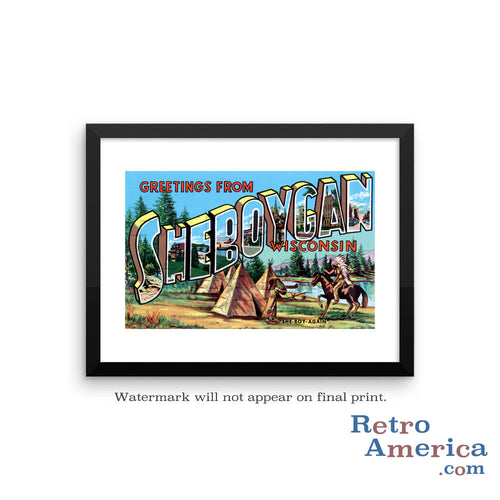 Greetings from Sheboygan Wisconsin WI Postcard Framed Wall Art