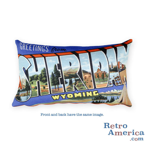 Greetings from Sheridan Wyoming Throw Pillow