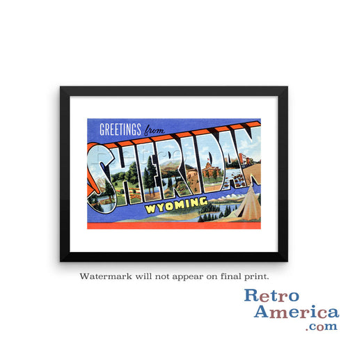 Greetings from Sheridan Wyoming WY Postcard Framed Wall Art