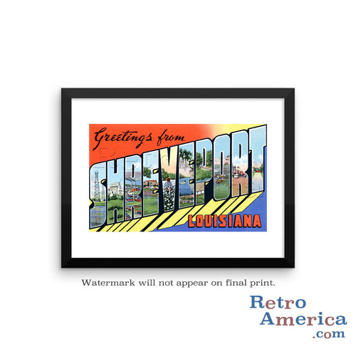 Greetings from Shreveport Louisiana LA Postcard Framed Wall Art
