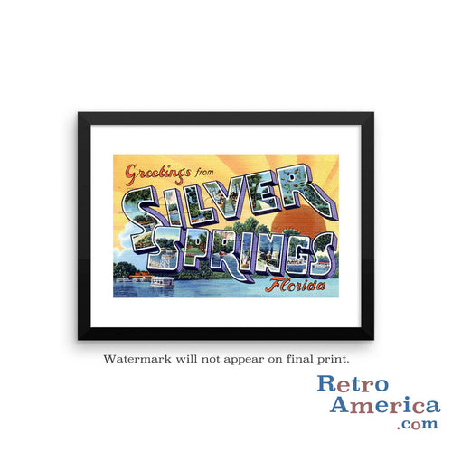 Greetings from Silver Springs Florida FL Postcard Framed Wall Art