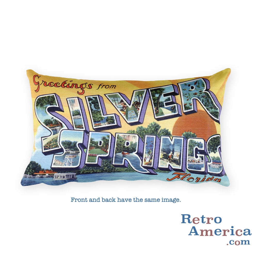 Greetings from Silver Springs Florida Throw Pillow