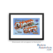 Greetings from Sioux City Iowa IA Postcard Framed Wall Art