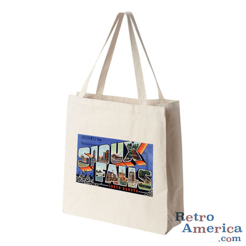 Greetings from Sioux Falls South Dakota SD Postcard Tote Bag