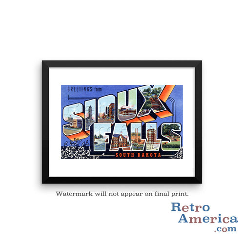 Greetings from Sioux Falls South Dakota SD Postcard Framed Wall Art