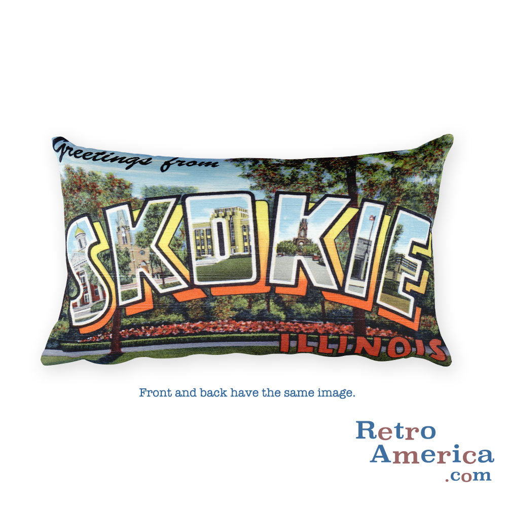 Greetings from Skokie Illinois Throw Pillow
