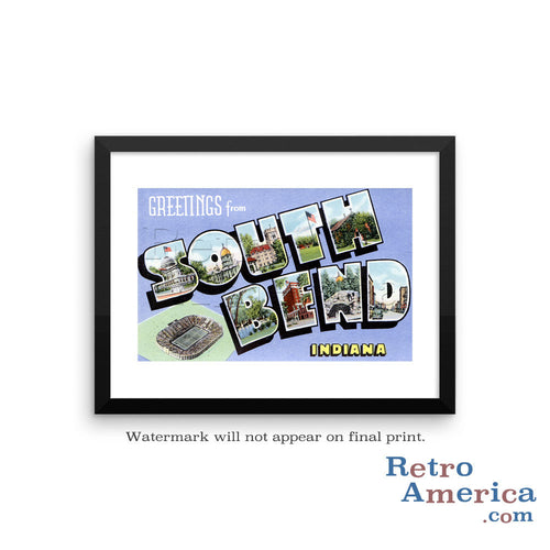 Greetings from South Bend Indiana IN Postcard Framed Wall Art