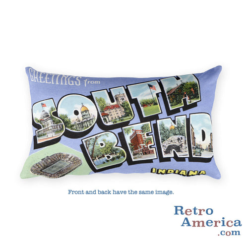 Greetings from South Bend Indiana Throw Pillow