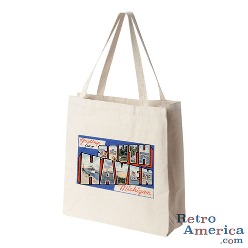 Greetings from South Haven Michigan MI Postcard Tote Bag