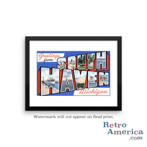 Greetings from South Haven Michigan MI Postcard Framed Wall Art