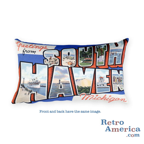 Greetings from South Haven Michigan Throw Pillow