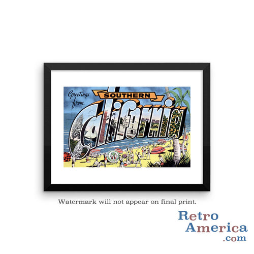 Greetings from Southern California CA Postcard Framed Wall Art