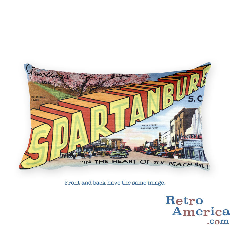 Greetings from Spartanburg South Carolina Throw Pillow 2